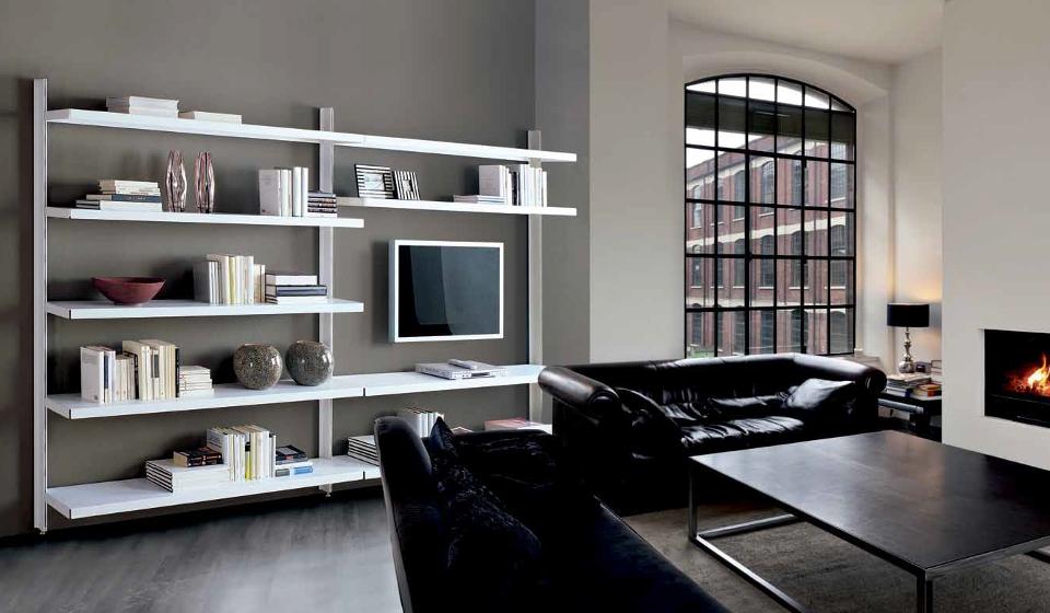 Libreria metallica componibile per soggiorno con vano tv