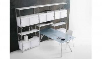 Libreria metallica con ante e tavolo di consultazione