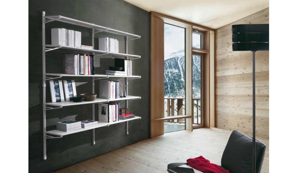Libreria pensile a muro metallica design