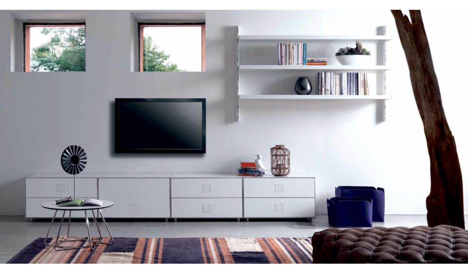 Libreria pensile e mobiletto basso componibile per tv
