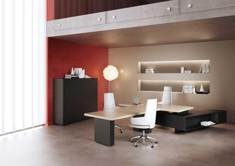 Mast mobili per ufficio direzionale struttura nera e piano bianco panna