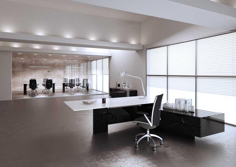 Mast scrivania presidenziale struttura nero lucido e piano in vetro retrolaccato bianco