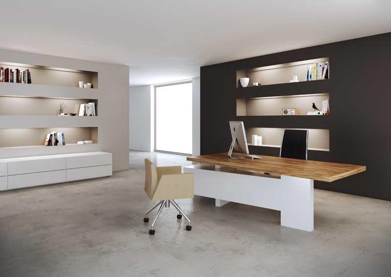 Mast sistema per ufficio direzionale struttura laccata bianca e piano spesso in legno