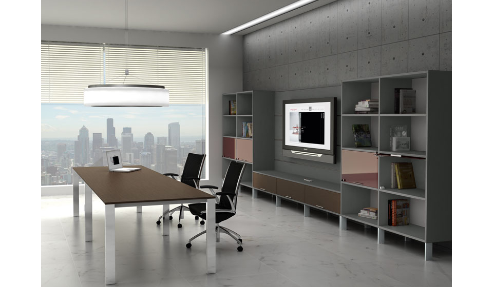 Minimax tavolo per sale riunioni con libreria e schermo televisore