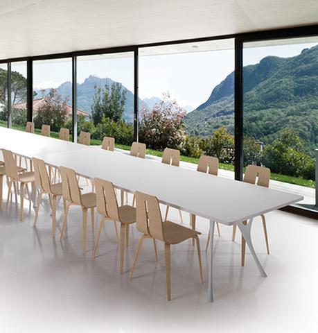 Pegaso tavolo riunione bianco in melaminico - riganelli