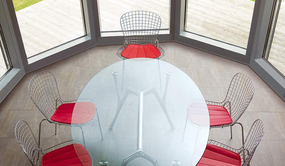 Pegaso tavolo rotondo piano in vetro per sala riunione - riganelli