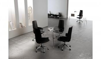 Tavolo riunioni Meeting rotondo con piano in vetro e struttura cromata