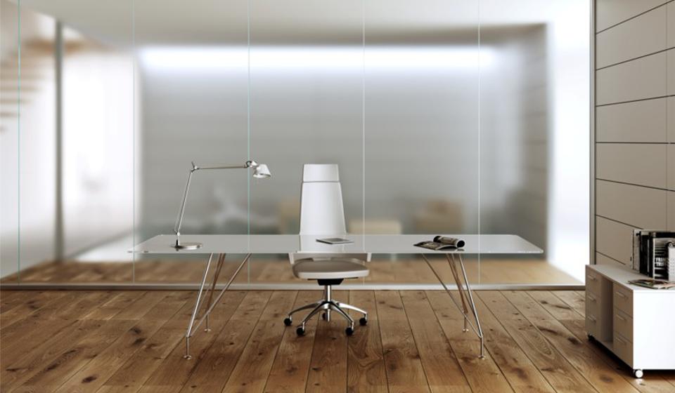 Tavolo riunioni Meeting struttura cromata e piano in cristallo retrolaccato