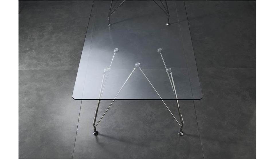 Tavolo riunioni meeting struttura cromata traliccio e piano cristallo trasparente
