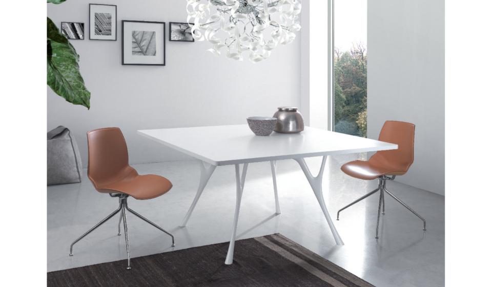 Tavolo riunioni quadrato in melaminico bianco - riganelli