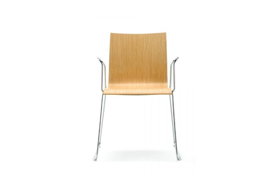 Wood sedia finitura legno e gambe in acciaio per riunione conferenze aula - riganelli
