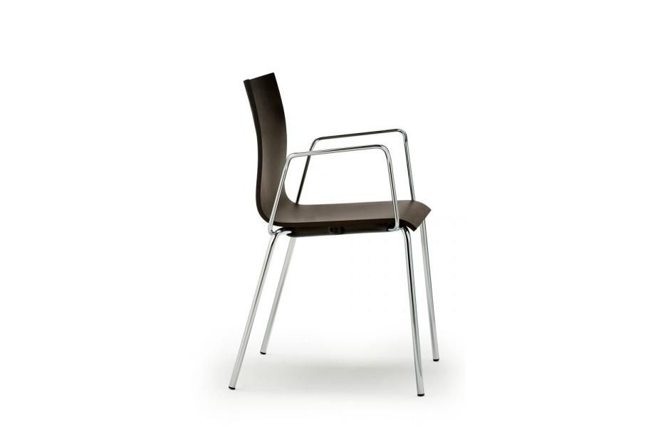 Wood seduta con struttura in acciaio e sedile in plastica - riganelli