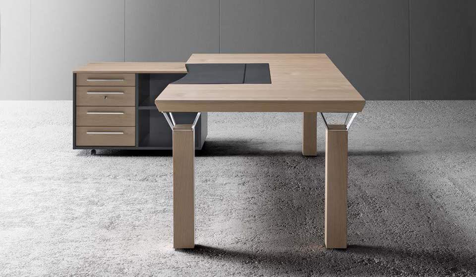 scrivania quadra melaminico finitura legno - riganelli