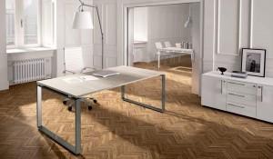 scrivania operativa grande con gamba in metallo Loft - riganelli