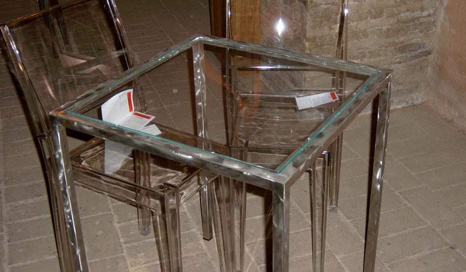 tavolo in vetro per enoteca - riganelli
