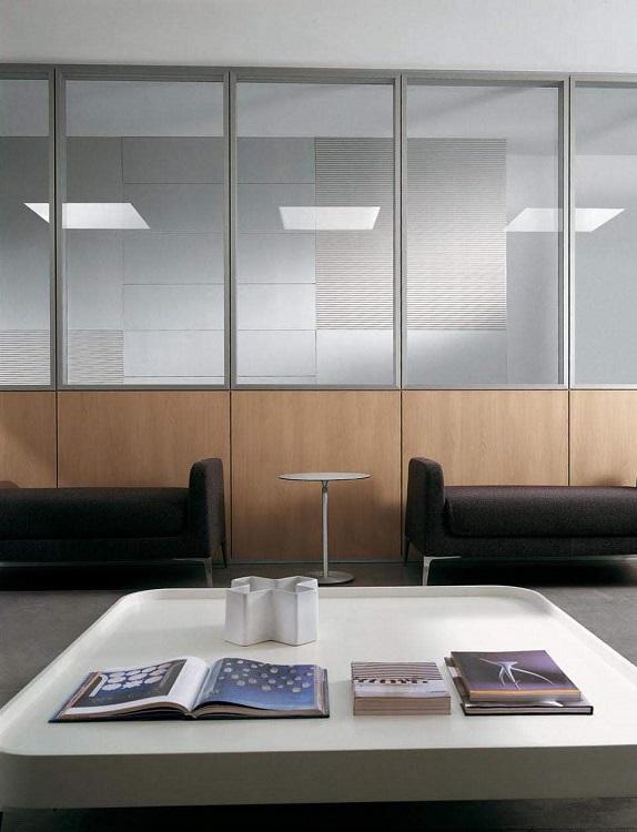 pareti divisorie in legno con finestra in vetro - riganelli