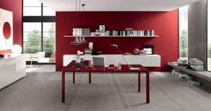 Anyware scrivania operativa ufficio rosso - riganelli