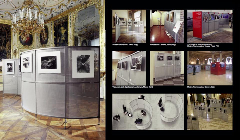 Archimede caimi pannello divisorio metallico espositore museo esposizione