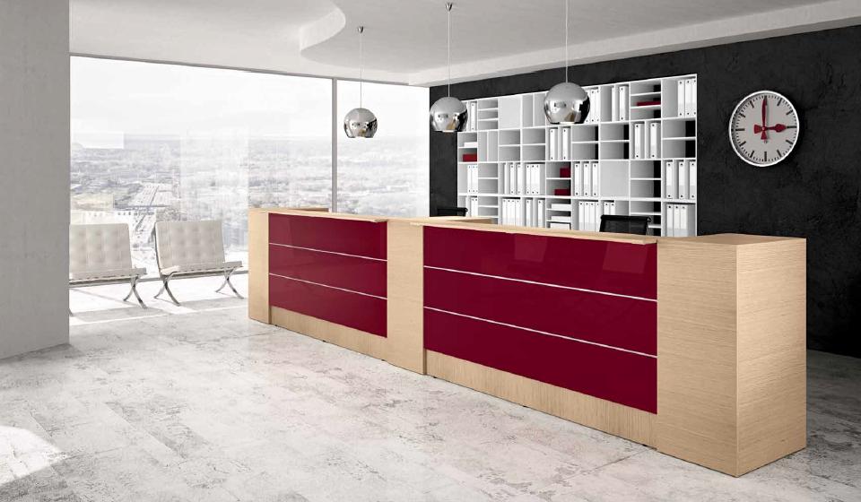 Bancone reception Get con pannelli lucidi