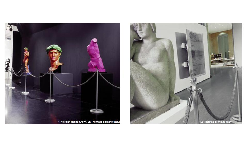 Battista Divisori colonnina con cordone per museo e mostra