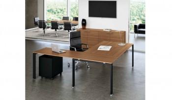 GLIDER scrivania con allungo struttura metallica colore nero