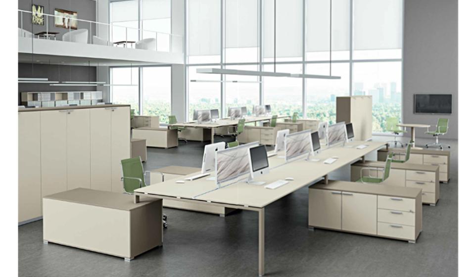 GLIDER sistema di arredamento ufficio operativo scrivania colore tortora sabbia