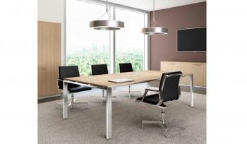 Glider tavolo riunioni con piano legno e struttura alluminio brillante