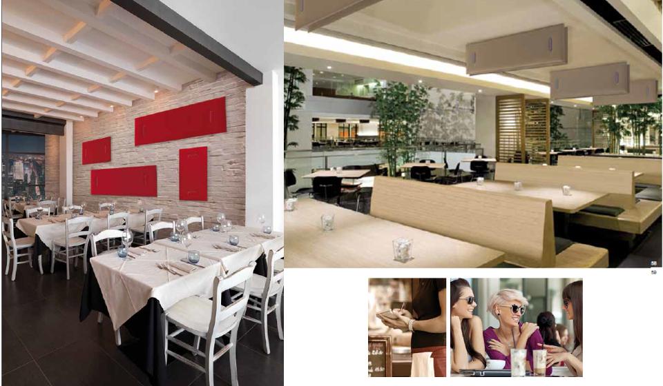 Mitesco pannelli fonoassorbenti ristorante