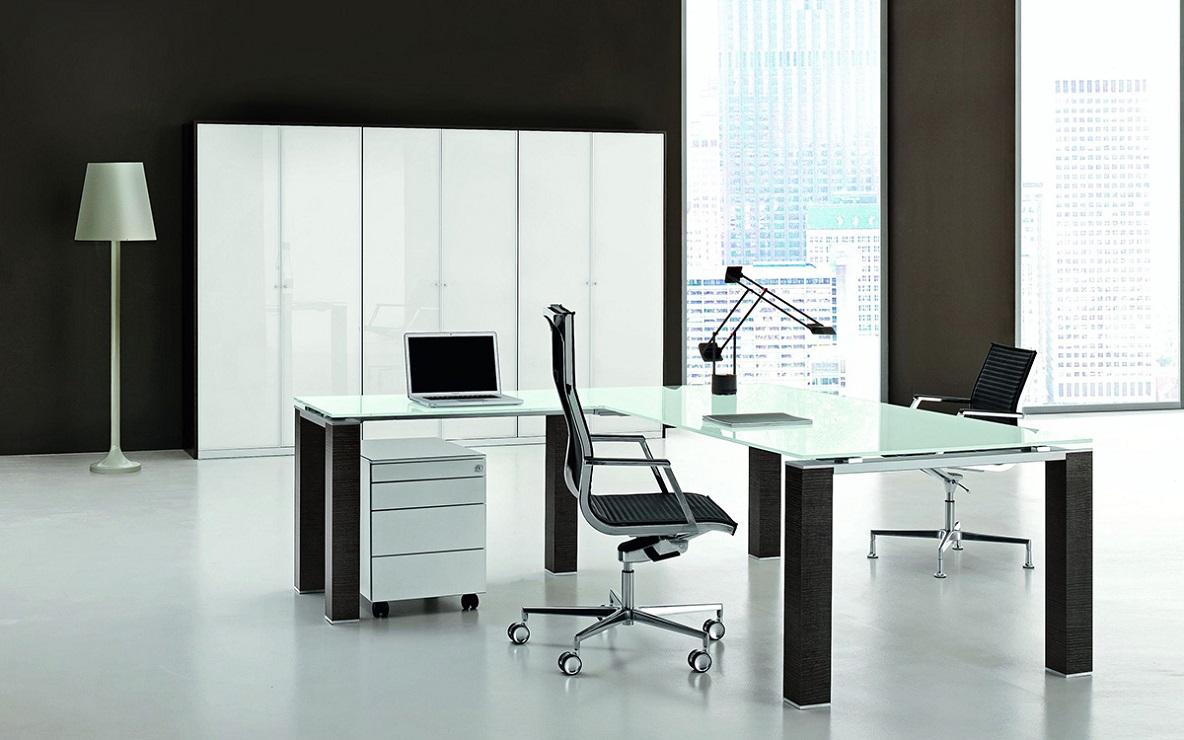 jet scrivania direzionale con piano in vetro - riganelli