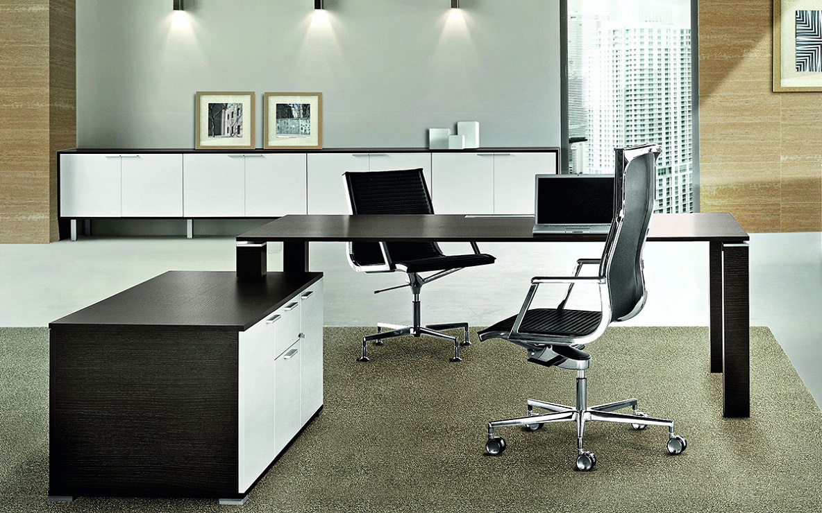 jet scrivania per ufficio direzionale melaminico wengé e bianco - riganelli