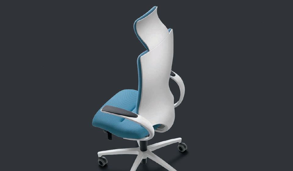 Poltrona ergonomica intouch in tessuto con scocche bianche