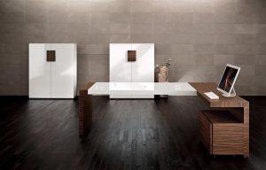 Kyo scrivania direzionale legno e bianco lucido - riganelli