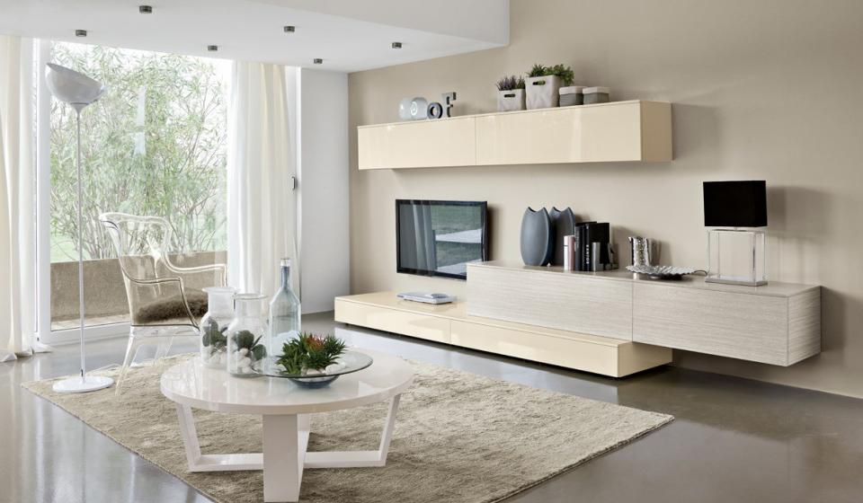 Soggiorni Bianchi: Salotti moderni bianchi mobile salotto con un design moderno.