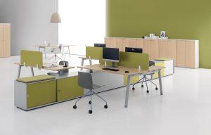 e-place scrivania operativa multipostazione con mobile di servizio - riganelli