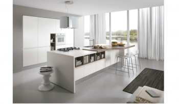Colombini Linea cucina bianca con nicchie a contrasto