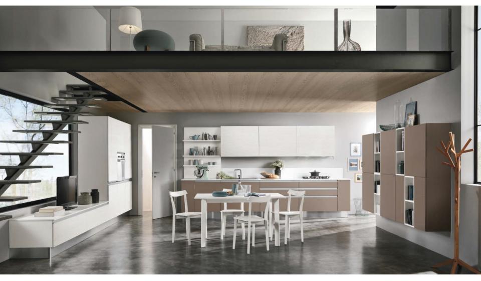 Colombini Linea cucina moderna per loft con soppalco