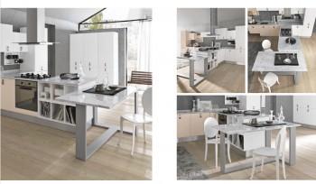 Cucina Agua Glam con tavolo piano in marmo
