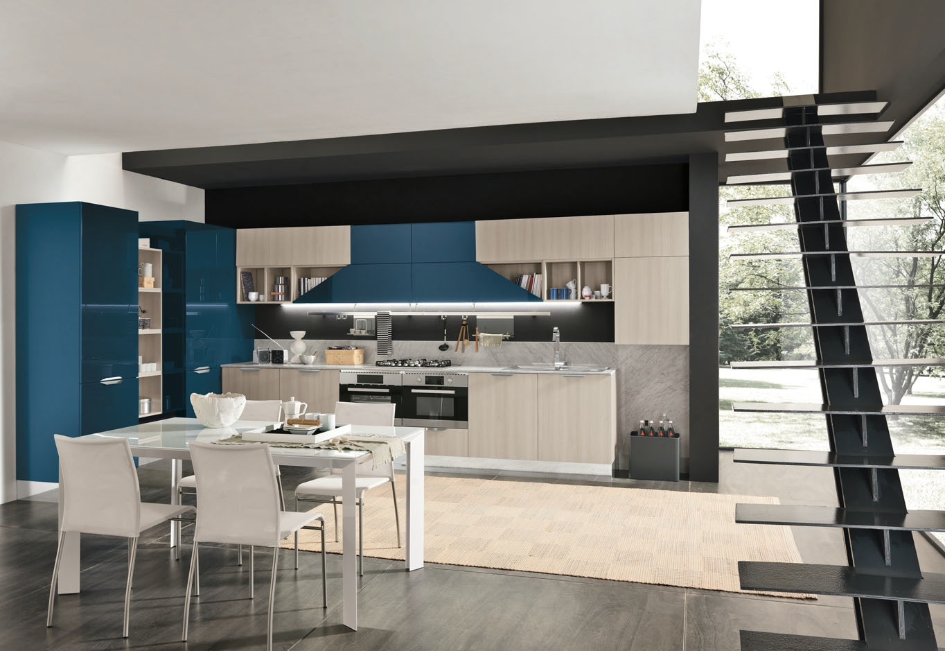Cucina Lungomare laccata blu con ante sagomate