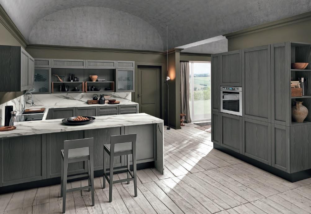 Talea cucina con top effetto marmo