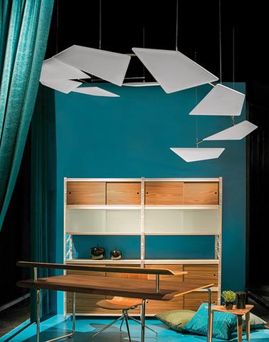 flap chain pannelli acustici soffitto design impatto visivo - Riganelli Arredamenti