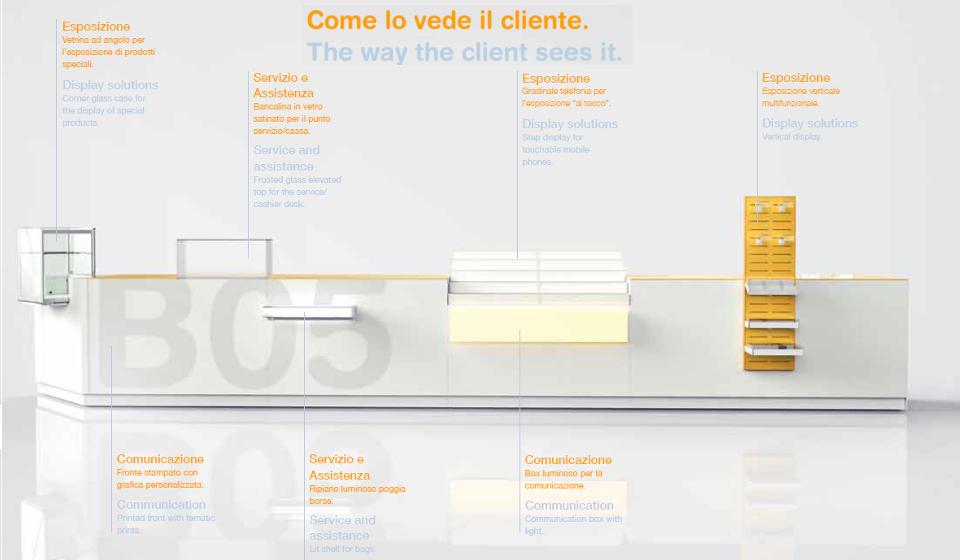 Banco vendita modulabile con vetrina e reggiriviste
