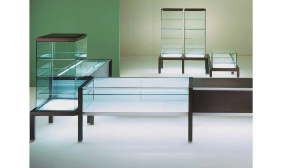 Banco vendita modulabile con vetrina o teca in vetro