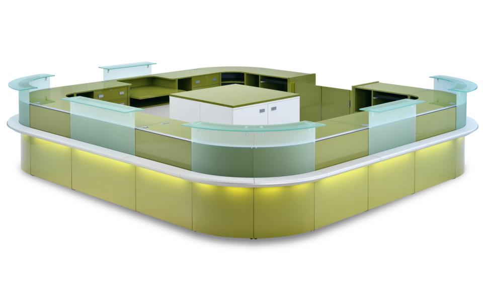 Banco vendita modulabile e curvo con alzatina in vetro ed illuminazione led