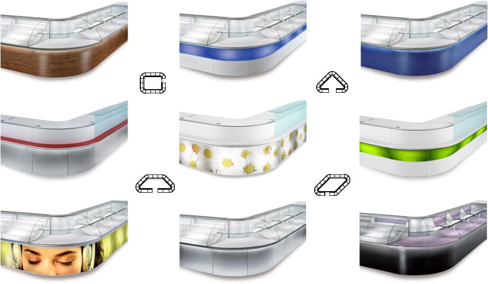 Banco vendita modulabile e curvo con teca per negozio colorato e di design