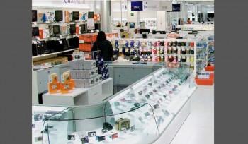 Bancone vetrina espositore per fotocamere cellulari smartphone arredo negozi elettrodomestici