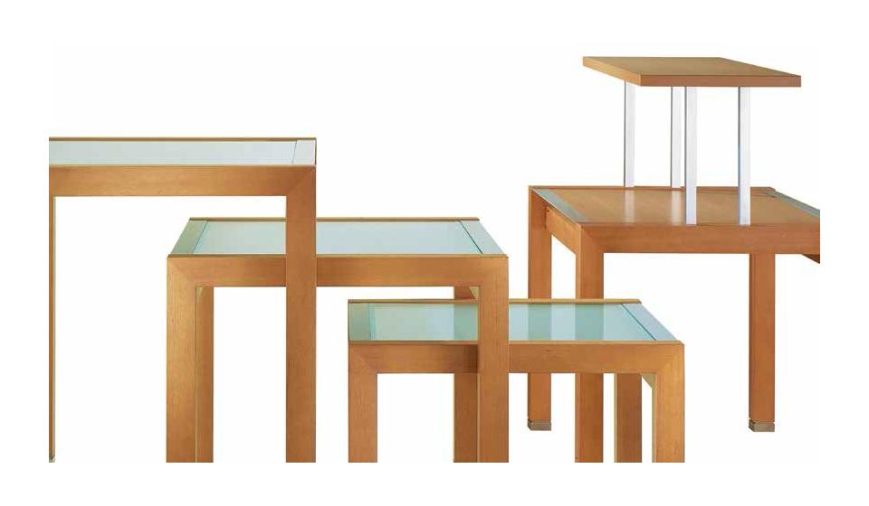 Elementi per banco negozio modulabile in legno o vetro