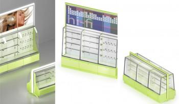 Espositore e gondola vetrina illuminata per elettrodomestici cellulari lettori mp3