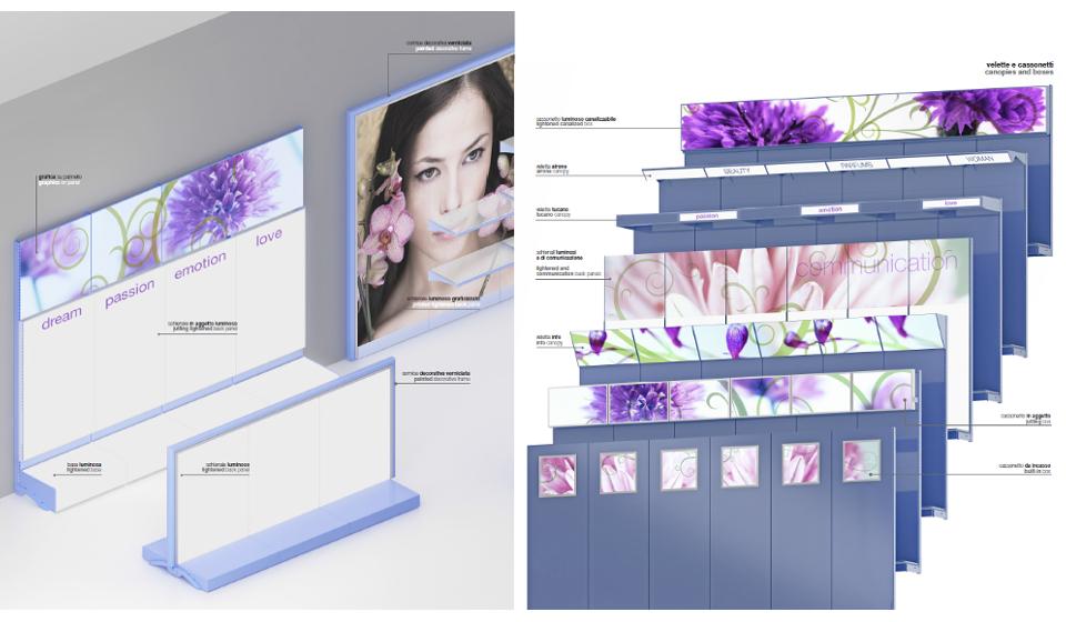 Gondola a muro modulabile personalizzabile con foto e illuminazione