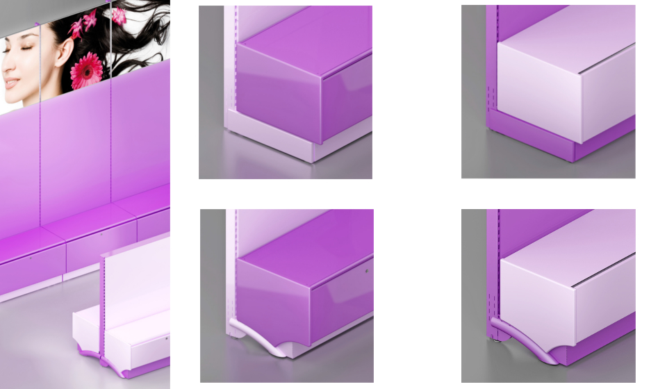 Gondola ed espositore con base cassettone e pannello personalizzato