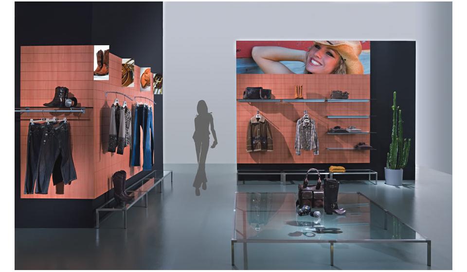 Pannelli dogati per arredamento negozio abbigliamento e outlet